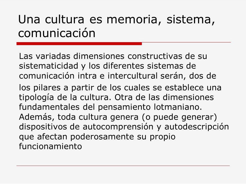 Una cultura es memoria, sistema, comunicación