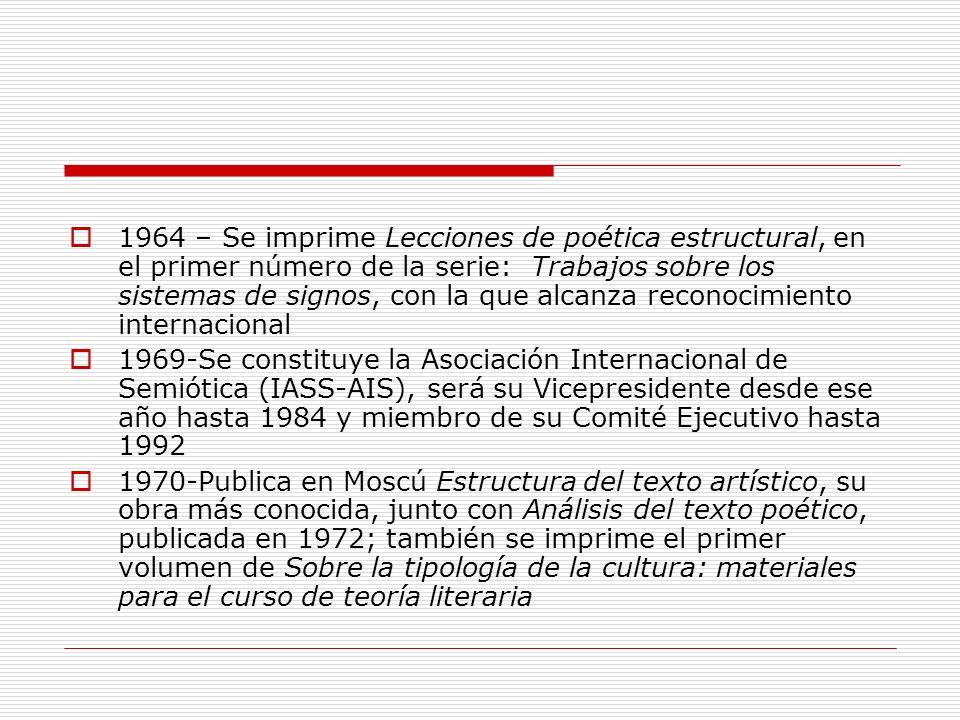 1964 – Se imprime Lecciones de poética estructural, en el primer número de la serie: Trabajos sobre los sistemas de signos, con la que alcanza reconocimiento internacional