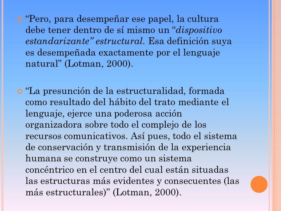 Pero, para desempeñar ese papel, la cultura debe tener dentro de sí mismo un dispositivo estandarizante estructural. Esa definición suya es desempeñada exactamente por el lenguaje natural (Lotman, 2000).
