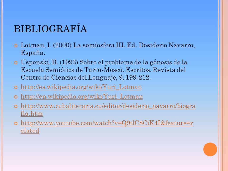 BibliografíaLotman, I. (2000) La semiosfera III. Ed. Desiderio Navarro, España.