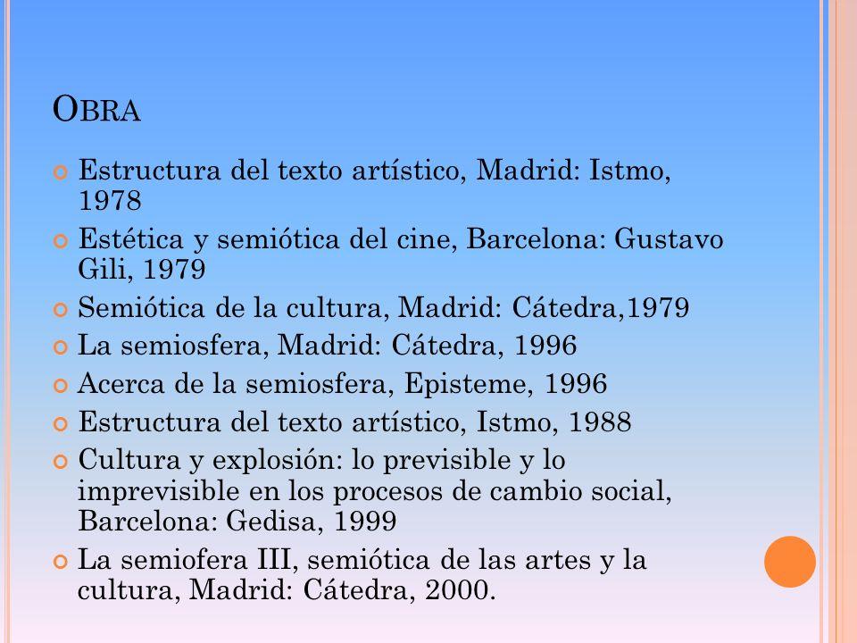 Obra Estructura del texto artístico, Madrid: Istmo, 1978