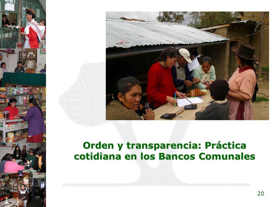 Orden y transparencia: Práctica cotidiana en los Bancos Comunales