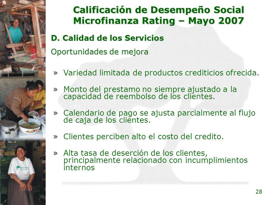 Calificación de Desempeño Social Microfinanza Rating – Mayo 2007