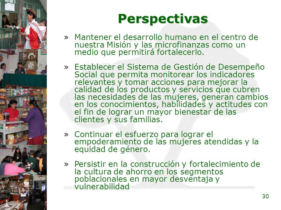 PerspectivasMantener el desarrollo humano en el centro de nuestra Misión y las microfinanzas como un medio que permitirá fortalecerlo.