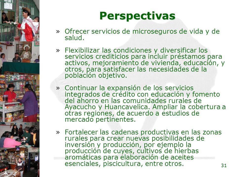 Perspectivas Ofrecer servicios de microseguros de vida y de salud.
