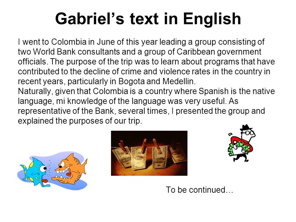Gabriel's text in English