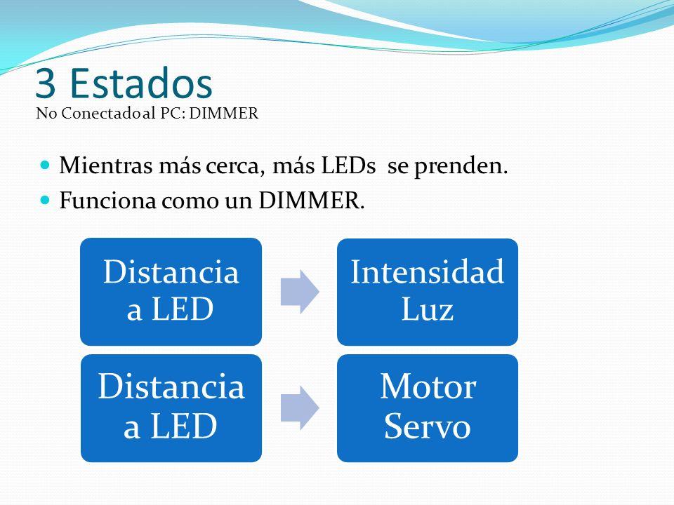3 Estados Mientras más cerca, más LEDs se prenden.