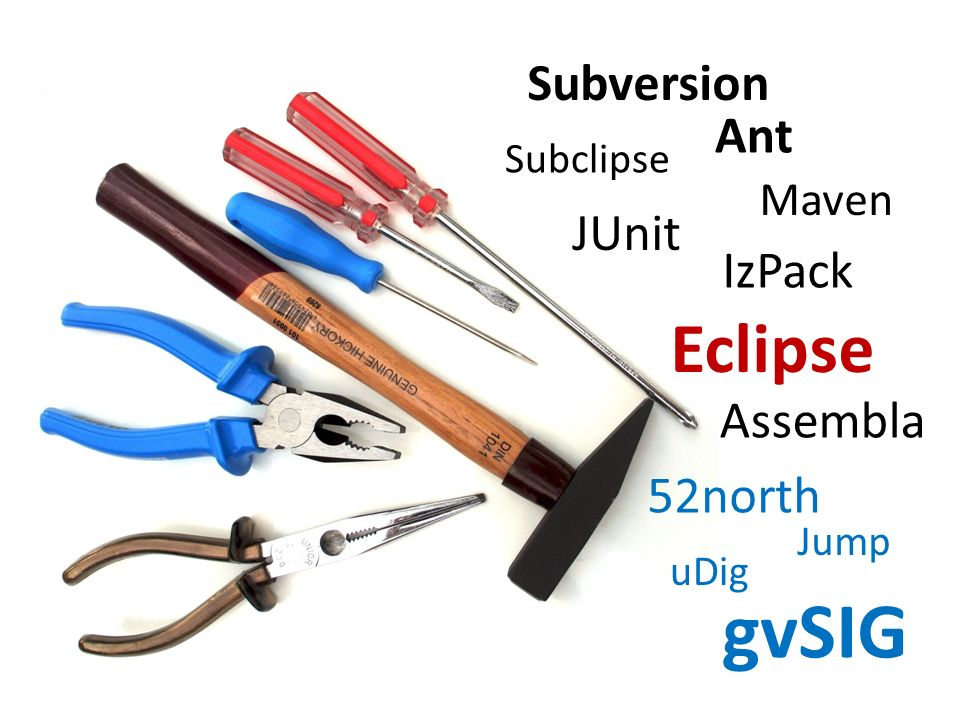 gvSIG Eclipse Subversion Ant JUnit IzPack Assembla 52north Maven