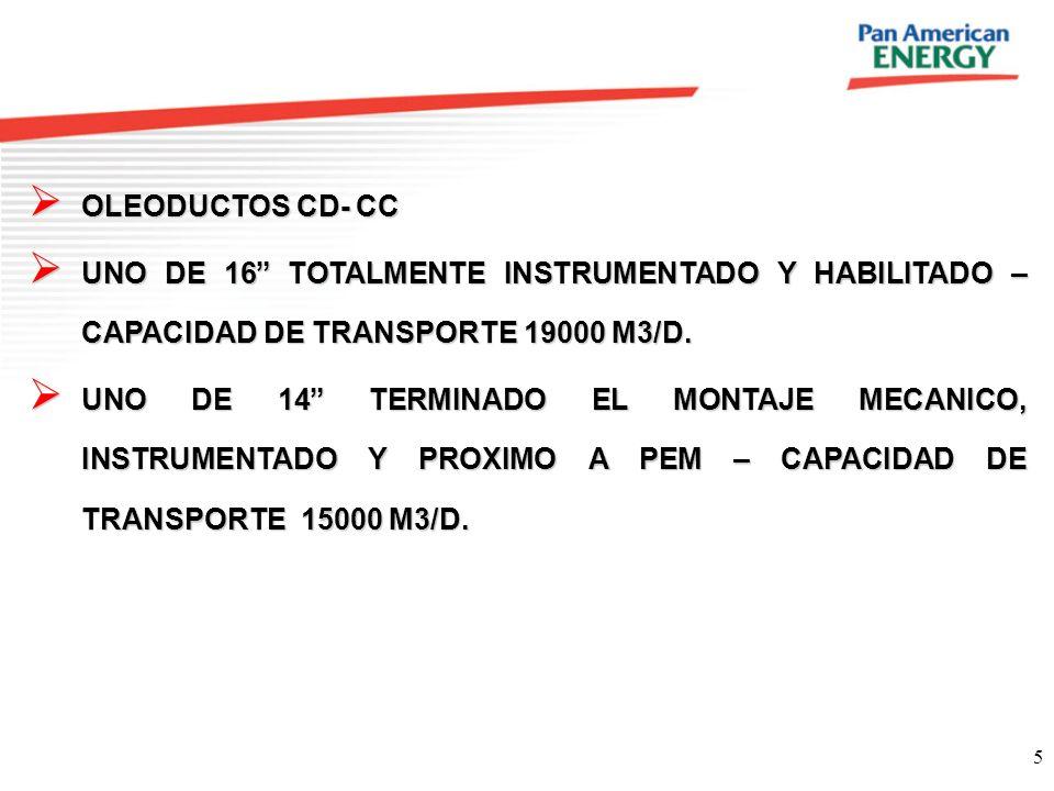 OLEODUCTOS CD- CC UNO DE 16 TOTALMENTE INSTRUMENTADO Y HABILITADO – CAPACIDAD DE TRANSPORTE 19000 M3/D.