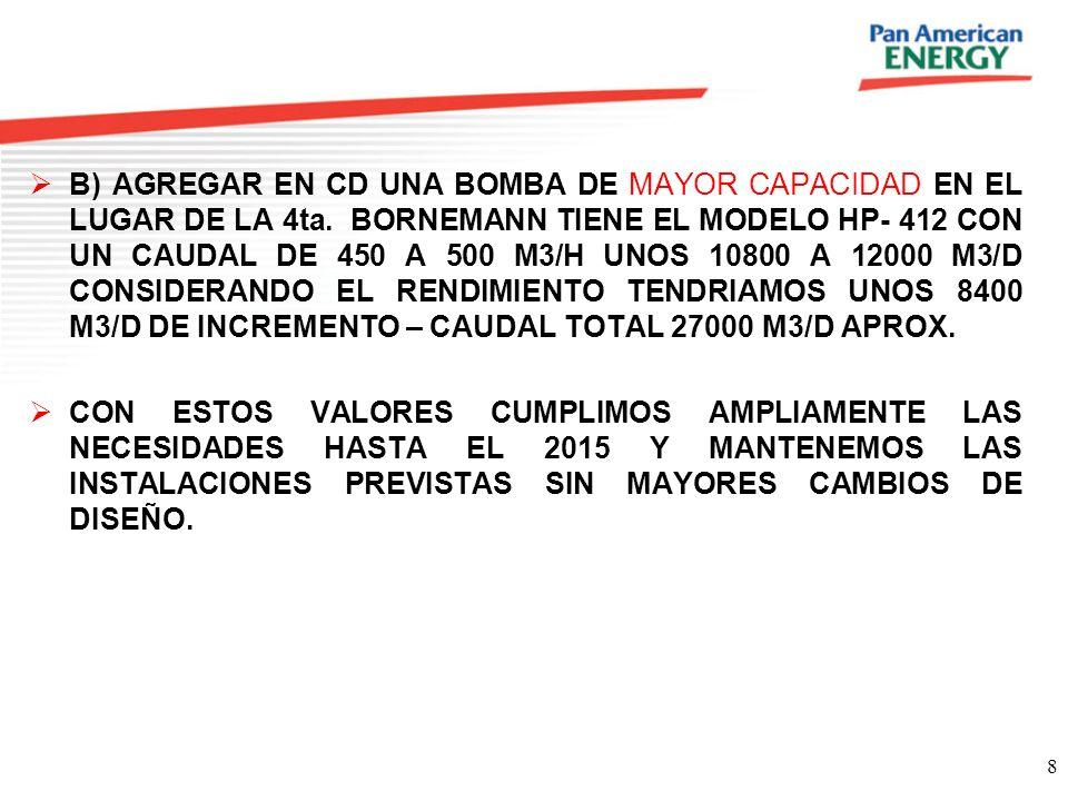 B) AGREGAR EN CD UNA BOMBA DE MAYOR CAPACIDAD EN EL LUGAR DE LA 4ta