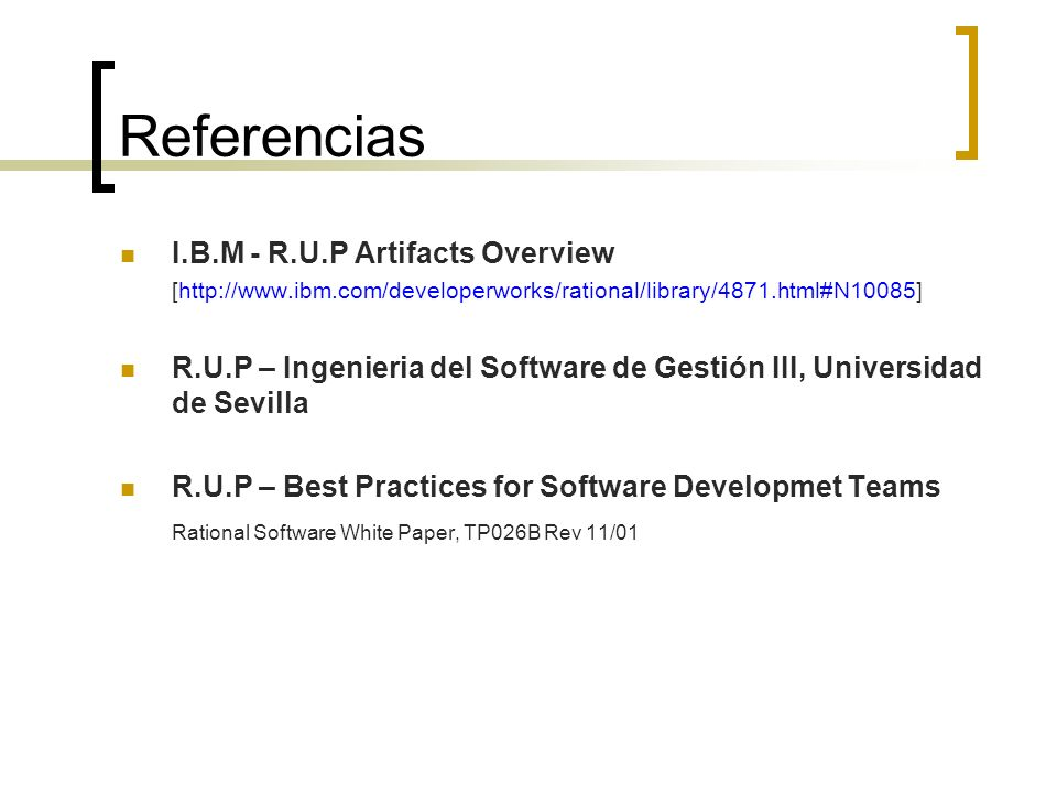 Referencias I.B.M - R.U.P Artifacts Overview