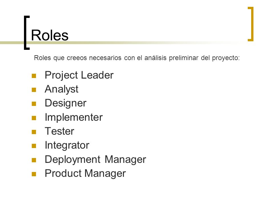 Roles Project Leader Analyst Designer Implementer Tester Integrator