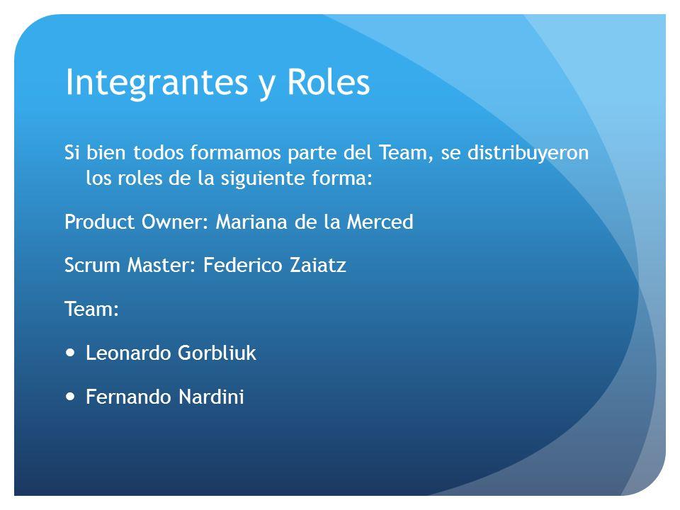 Integrantes y Roles Si bien todos formamos parte del Team, se distribuyeron los roles de la siguiente forma: