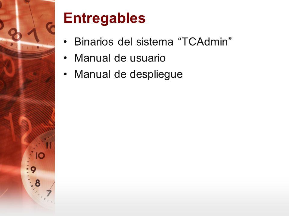 Entregables Binarios del sistema TCAdmin Manual de usuario