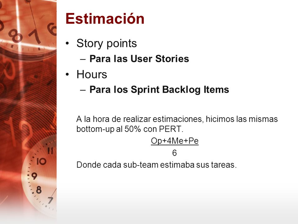 Estimación Story points Hours Para las User Stories