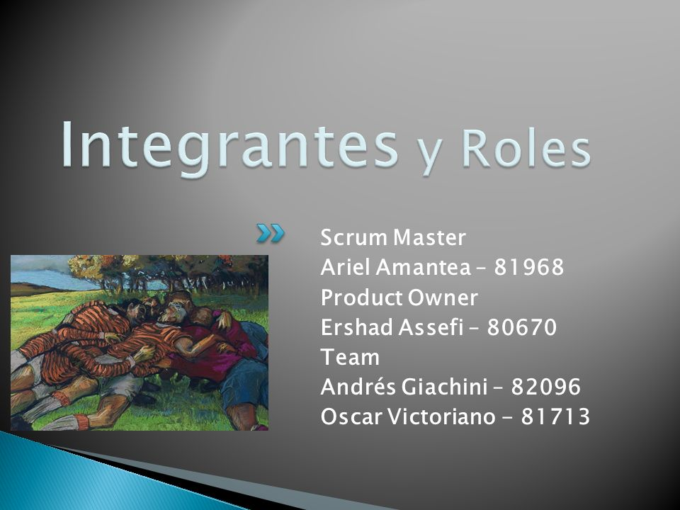 Integrantes y Roles Scrum Master Ariel Amantea – 81968 Product Owner