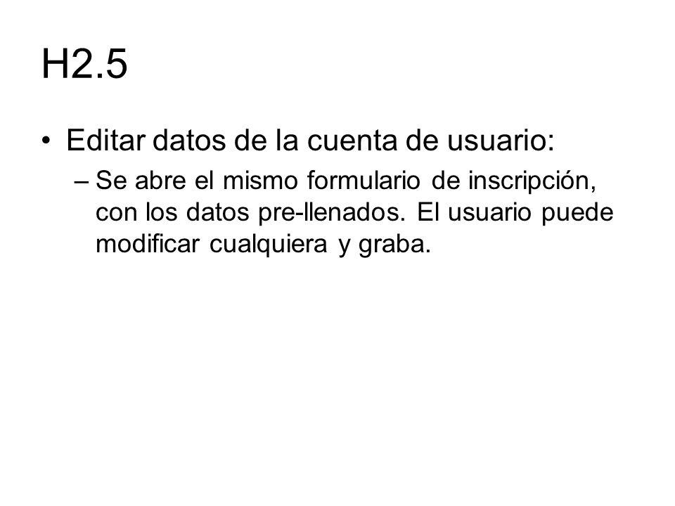 H2.5 Editar datos de la cuenta de usuario: