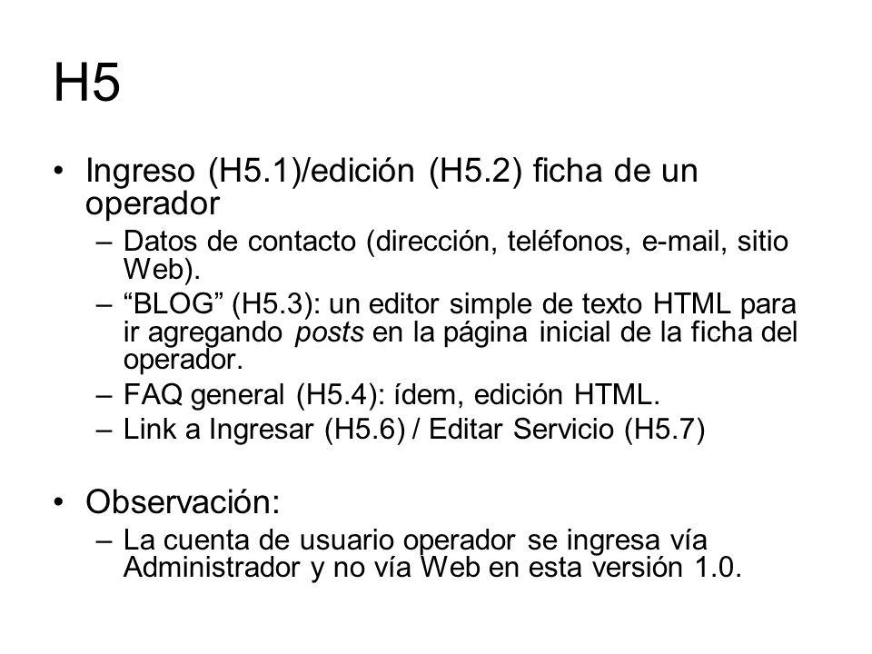 H5 Ingreso (H5.1)/edición (H5.2) ficha de un operador Observación:
