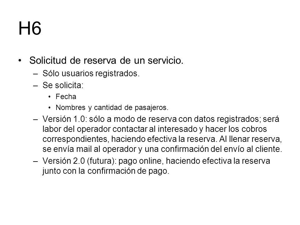 H6 Solicitud de reserva de un servicio. Sólo usuarios registrados.