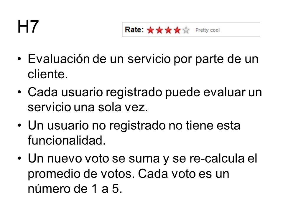 H7 Evaluación de un servicio por parte de un cliente.