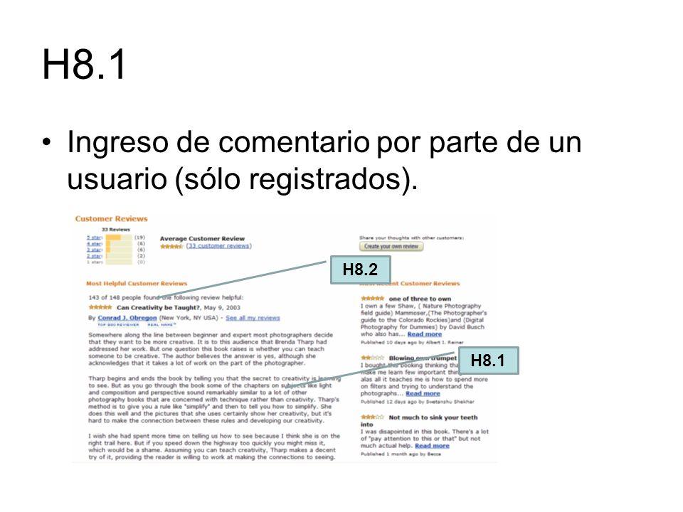 H8.1 Ingreso de comentario por parte de un usuario (sólo registrados).
