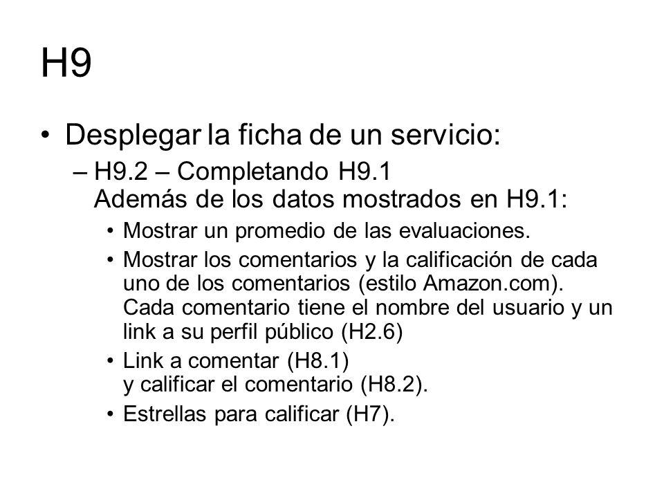 H9 Desplegar la ficha de un servicio: