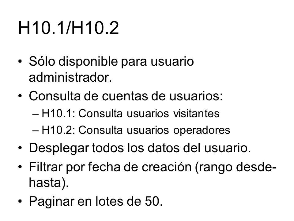 H10.1/H10.2 Sólo disponible para usuario administrador.
