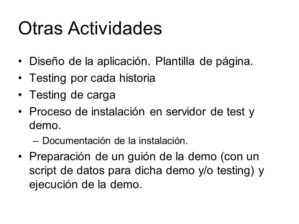 Otras Actividades Diseño de la aplicación. Plantilla de página.