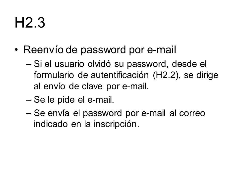 H2.3 Reenvío de password por