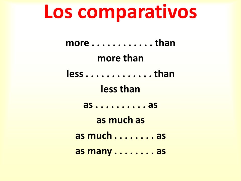 Los comparativos more . . . . . . . . . . . . than more than