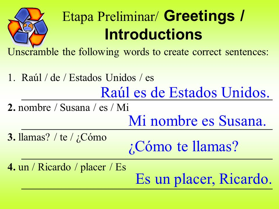 Etapa Preliminar/ Greetings / Introductions
