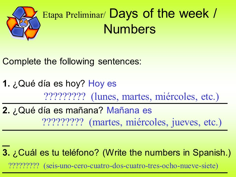Etapa Preliminar/ Days of the week / Numbers