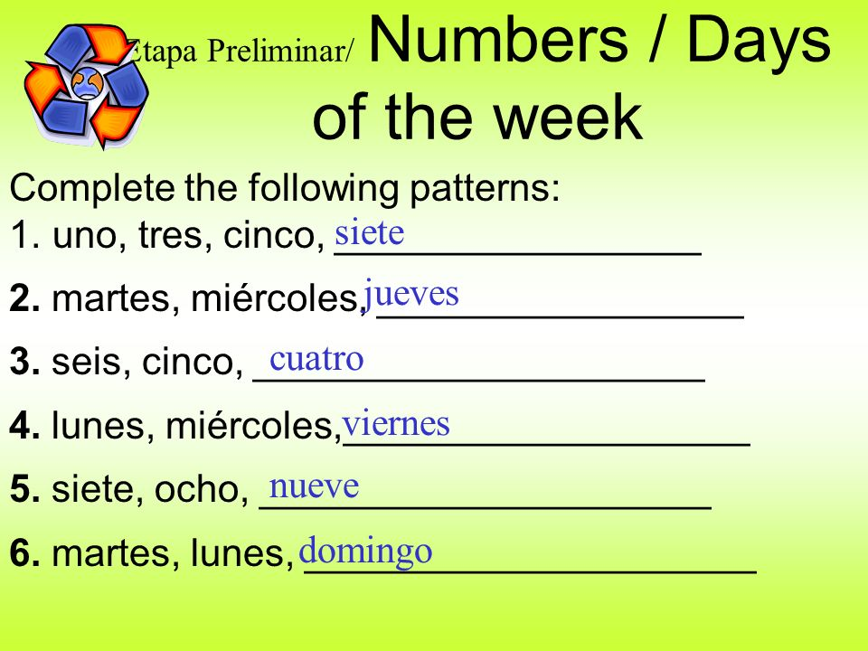 Etapa Preliminar/ Numbers / Days of the week