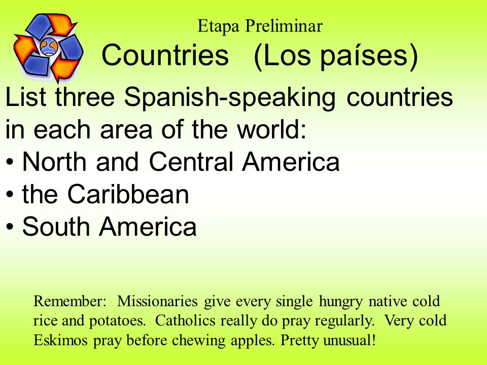 Etapa Preliminar Countries (Los países)