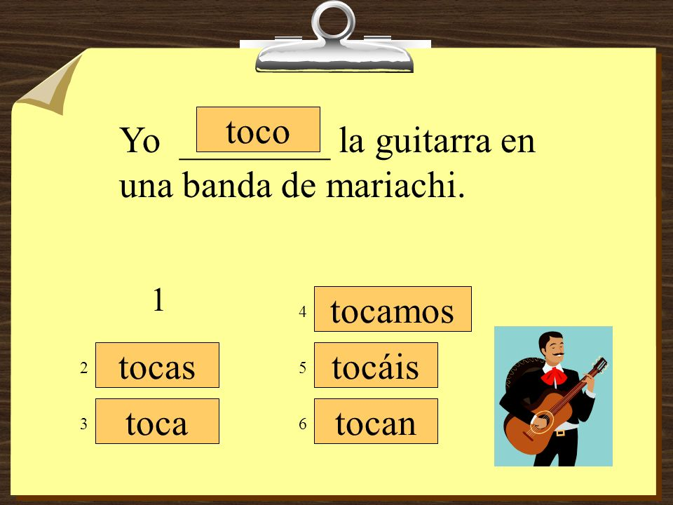 Yo ________ la guitarra en una banda de mariachi.