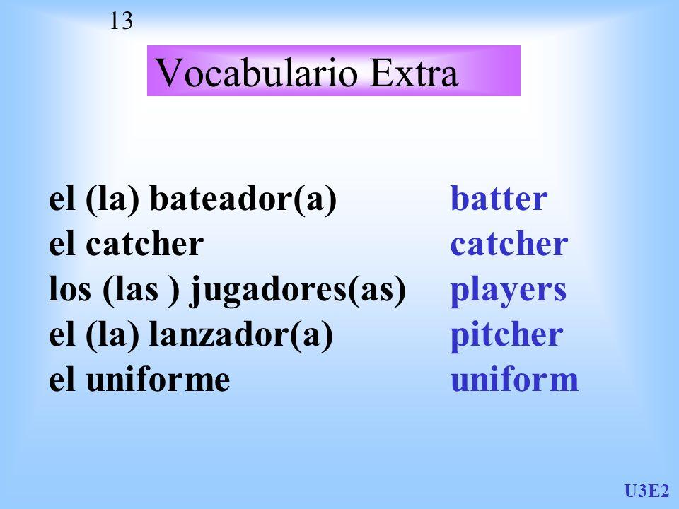Vocabulario Extra el (la) bateador(a) el catcher