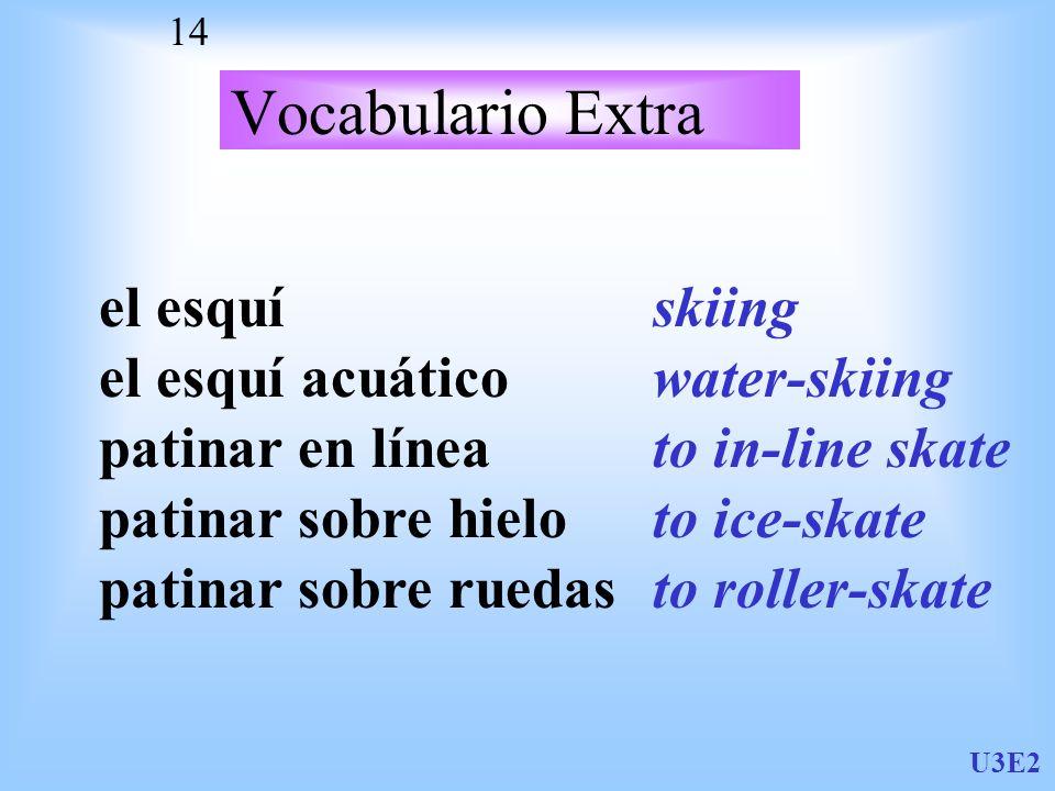Vocabulario Extra el esquí el esquí acuático patinar en línea