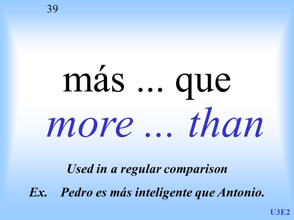 Used in a regular comparison Ex. Pedro es más inteligente que Antonio.