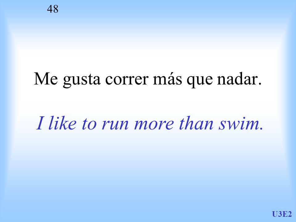Me gusta correr más que nadar.