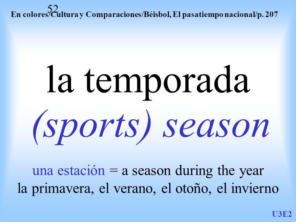 la temporada (sports) season una estación = a season during the year