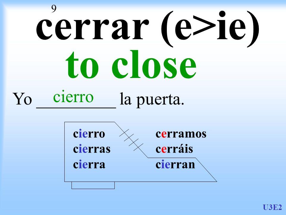 cerrar (e>ie) to close