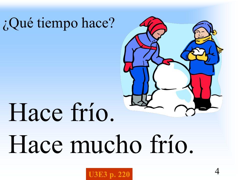 ¿Qué tiempo hace Hace frío. Hace mucho frío. U3E3 p. 220