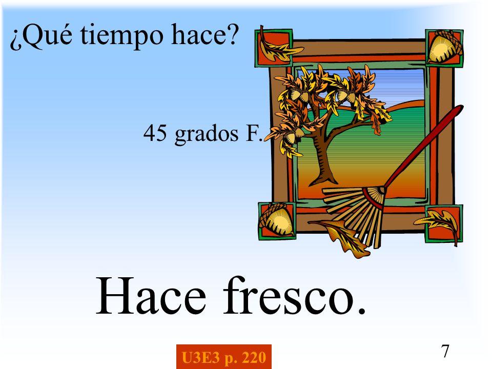 ¿Qué tiempo hace 45 grados F. Hace fresco. U3E3 p. 220