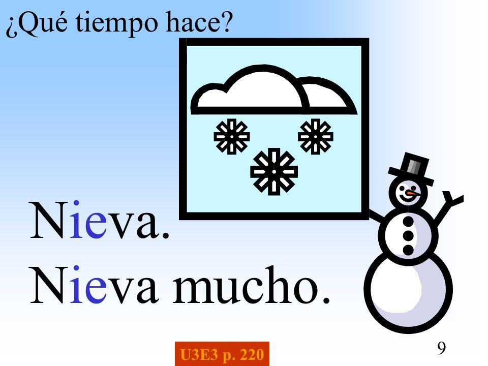 ¿Qué tiempo hace Nieva. Nieva mucho. U3E3 p. 220