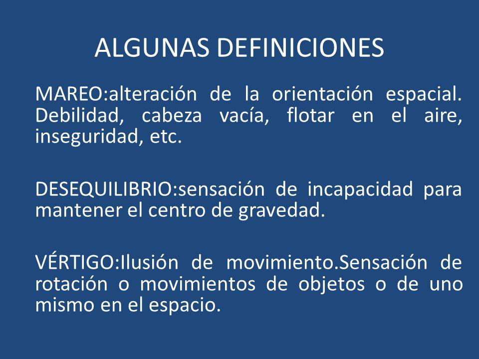 ALGUNAS DEFINICIONES MAREO:alteración de la orientación espacial. Debilidad, cabeza vacía, flotar en el aire, inseguridad, etc.
