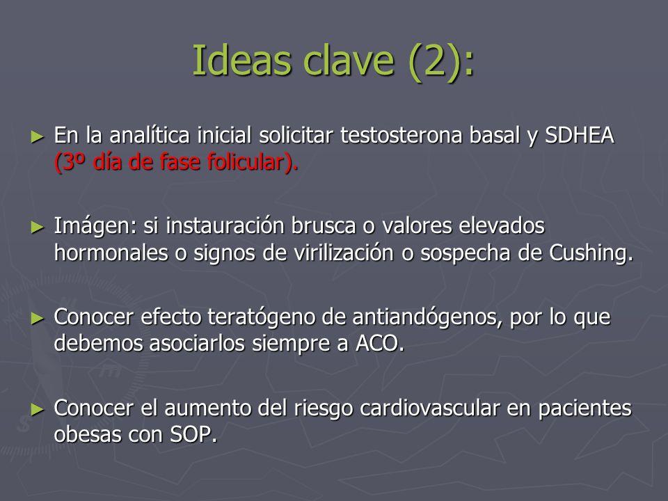 Ideas clave (2):En la analítica inicial solicitar testosterona basal y SDHEA (3º día de fase folicular).