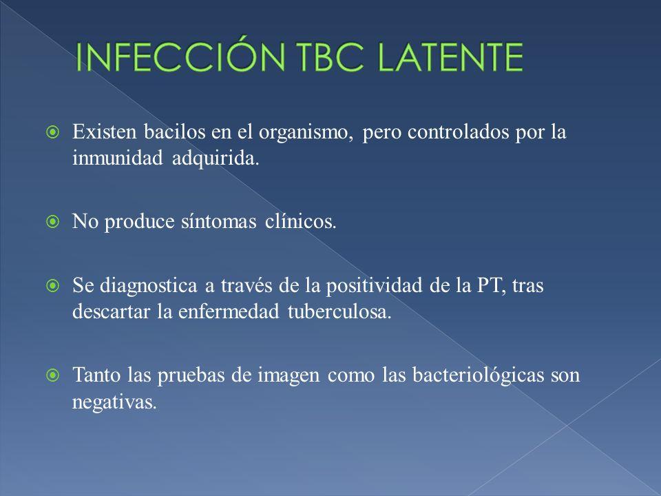 INFECCIÓN TBC LATENTEExisten bacilos en el organismo, pero controlados por la inmunidad adquirida. No produce síntomas clínicos.