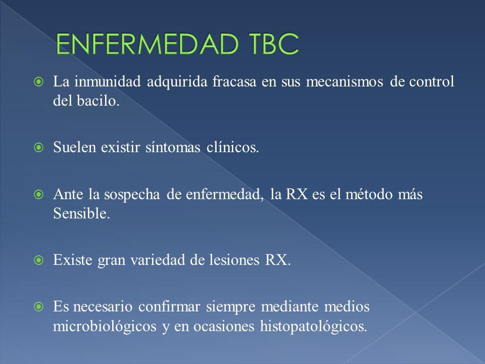 ENFERMEDAD TBCLa inmunidad adquirida fracasa en sus mecanismos de control del bacilo. Suelen existir síntomas clínicos.