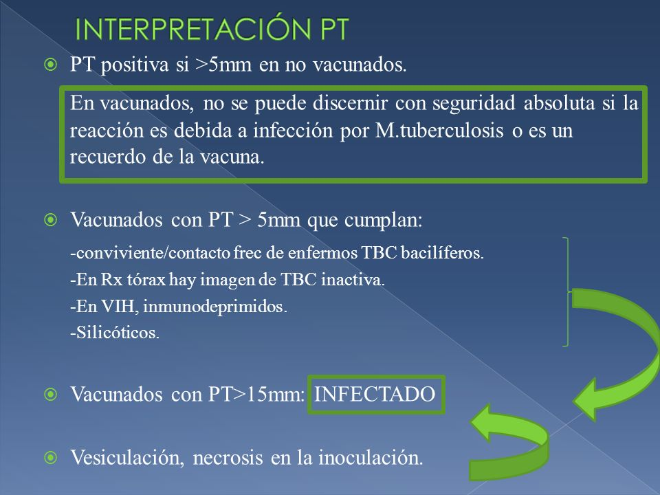 INTERPRETACIÓN PT PT positiva si >5mm en no vacunados.