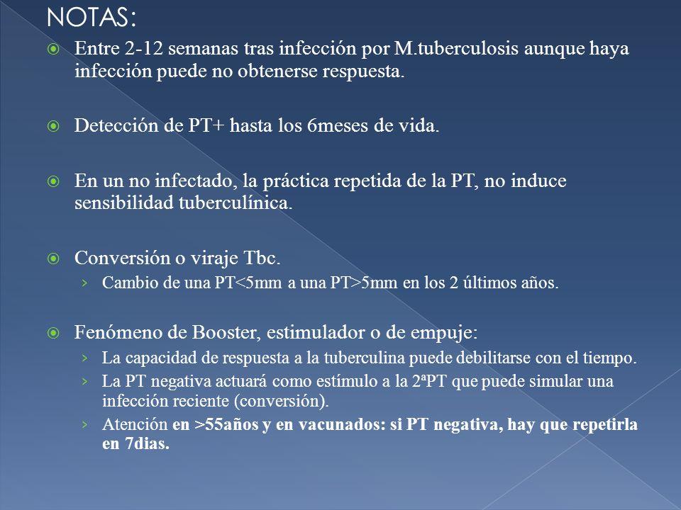 NOTAS:Entre 2-12 semanas tras infección por M.tuberculosis aunque haya infección puede no obtenerse respuesta.